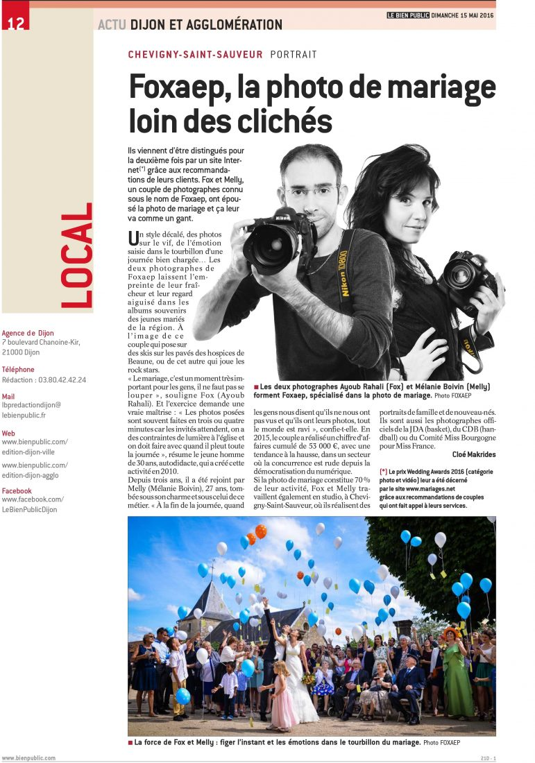 Publication Photographe Bourgogne